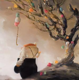Oil painting of man beside tree decorated with colorful balls.