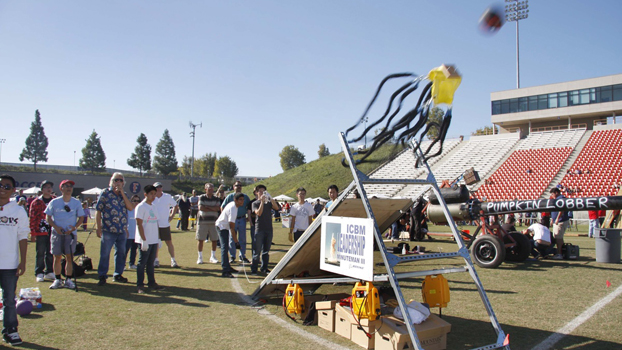 Catapult launches a pumpkin during 2009 festivities.