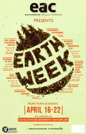 Earth Week poster created by student