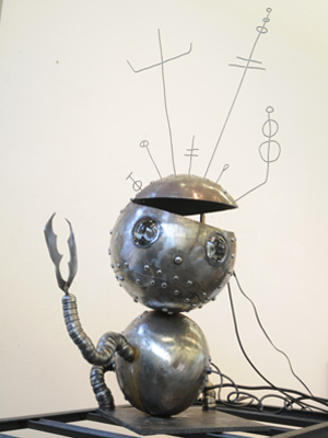 metal sculpture titled Robot Boy