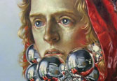painting of boy in red hooded shirt and ornaments from neckline to lower lip