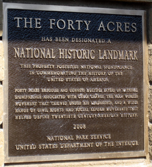 The National Historic Landmark plaque placed at The Forty Acres.