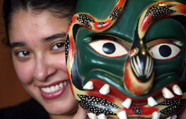 Student with Phurepecha mask