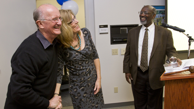Jack Bedell hugs Andrea Guillaume as Willia Hagan looks on.