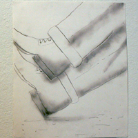 pencil drawing of a man's crossed legs and boots.