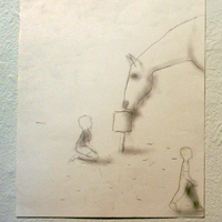 pencil drawing of a horse drinking out of a bucket as a child looks on.