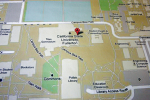 Closeup of a Google Map showing Cal State Fullerton
