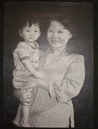 Pencil drawing of a mother and holding her son