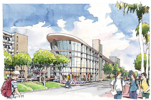 Artist's rendering of new student housing-modern buildings, wide walkways, trees and greenbelts feature prominently.
