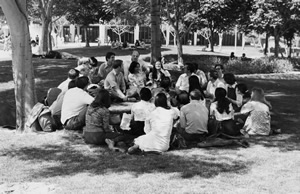 Black and white photo of a group of students outside under a tree.