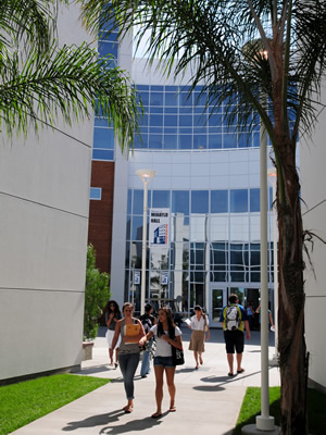 Students walking in front of Mihaylo Hall