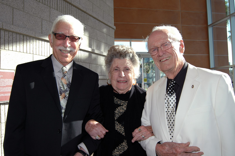 Jerry Samuelson, left, Kathryn T. McCarty and Jim Young