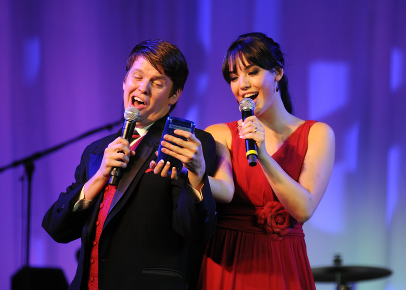 Two Cal State Fullerton students performing musical tribute for Vision & Visionaries recipients