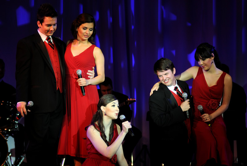 Five Cal State Fullerton students performing musical tribute for Vision & Visionaries recipients